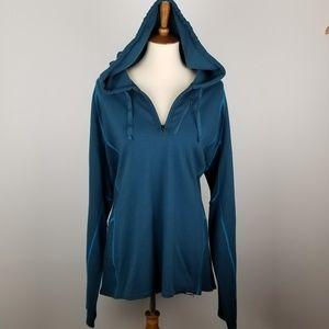 CABELA'S   Teal Merino Wool Hooded Sweatshirt